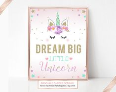 Unicorn Party Sign Dream Big Unicorn Birthday Sign Unicorn