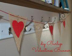 DIY Valentines Burlap Banner DIY Burlap DIY Crafts