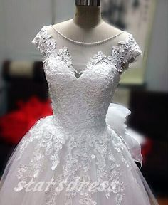 New Fashion Beach Wedding Dress,A-line Lace Applique Tulle Lace Wedding Dresses, Cap Sleeve Sheer Neck Wedding Dresses Wedding Gowns, Lace Wedding, Gorgeous Wedding Dress, Tulle Lace, Lace Applique, Marry Me, New Fashion, Weddings, Sleeve