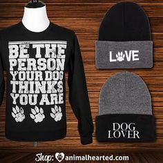 You can get our 'Be The Person' sweatshirt and both of these beanies from the link in our profile! #animalhearted #animalheartedapparel