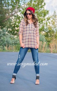 Plaid is one of the hottest trends for fall... Good thing it's so adorable! I love plaid paired with our new fall beanies! www.sexymodest.com. Top- plaid undone button up top $28. Hat- C.C beanies $14 #modestshoppin #sexymodest #fallfashion #fallstyle #plaid