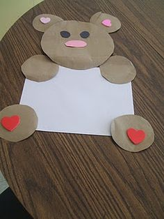 Shape bear--cute with hearts to make a valentine!