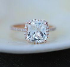 White Sapphire Ring 14k Rose Gold Diamond by EidelPrecious on Etsy