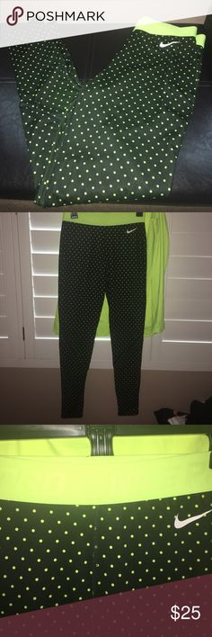 Nike Pro leggings Neon polka dots Nike Pro leggings. They are 88% polyester 12% spandex. Great condition. Has been worn once. nike pro Pants Track Pants & Joggers