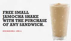 ARBY'S $$ Reminder: Coupon for FREE Small Jamocha Shake With the Purchase of Any Sandwich – Expires TODAY (4/14)!
