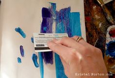 One of the easiest and fastest ways to create a background is to simply squirt some paint onto your page then move it around with an old credit card or key card. Description from kristalnorton.com. I searched for this on bing.com/images