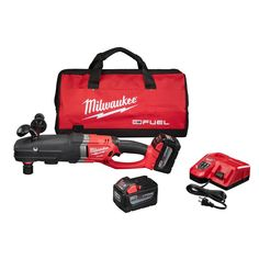 Milwaukee M18 Fuel 18-Volt Lithium-Ion Super Hawg 1/2 in. Right Angle Drill Kit With Quik-Lok High Demand 9.0Ah Kit