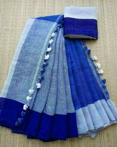 Linen Sarees from Maneeti.for enquiries and booking - Whatsapp 9539820656 Handloom Saree, Silk Sarees, Saris, Bollywood Saree, Bollywood Fashion, Hijab Fashion, Women's Fashion, Saree Trends, Blue Saree