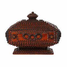 Fine Tramp Art Pedestal Box With Finial