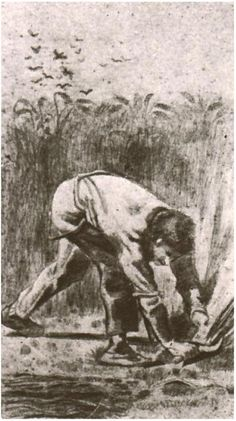 Vincent van Gogh Drawing, Pencil, washed with sepia Etten: April - May, 1881 Location unknown F: 1674, JH: 2 Image Only - Van Gogh: Mower (after Millet)