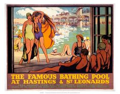 Bathing Pool At Hastings Travel East Sussex Poster Old Advert Swimming Holiday