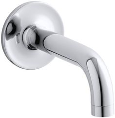 KOHLER K-14427-CP Purist Wall-Mount Non-Diverter Bath Spout, 90 Degrees, Polished Chrome Color: Polished Chrome, Model: K-14427-CP, Hardware Store. Solid brass construction for durability and reliability. KOHLER finishes resist corrosion and tarnishing, exceeding industry durability standards two times. Fluid design lines for ease of cleaning. Completes Purist design solution with KOHLER accessories.