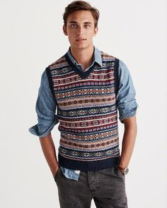 Fair Isle Jacquard Blue Striped V-Neck Sweater Vest - Gentleman ...