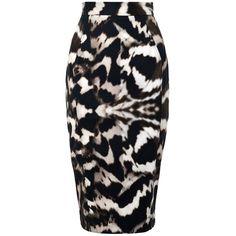Amanda Wakeley Imari Skirt ($255) ❤ liked on Polyvore featuring skirts, bottoms, saia, gunmetal, knee length skirts, pencil skirt, knee length pencil skirt, fitted pencil skirt and zipper pencil skirt
