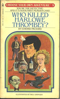"""Paul Granger (pseudonym for Don Hedin). Original illustration for 'Who Killed Harlowe Thrombey?' cover's, in 'Choose your own adventure' series. """"You knock on Thrombey's door exactly at five. A stout, balding man opens it. He eyes you suspiciously before nervously shaking your hand. 'I'm Harlowe Thrombey', he says""""."""