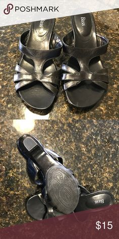 Bass Sandals These are a great pair of shoes for a warm day. Slip on and go. They do show some wear but are still in great shape. Bass Shoes Sandals