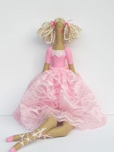 Muñeca de trapo muñeca bailarina muñeca de tela rosa muñeca