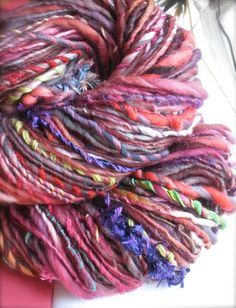 chili char  handspun gypsy handpainted art yarn by pancakeandlulu, $38.00