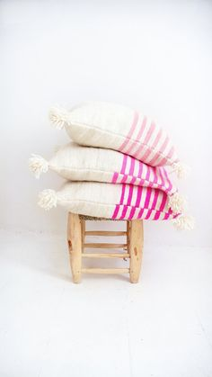 Moroccan POM POM pillow cover wool natural undyed by lacasadecoto