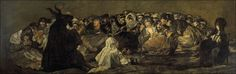 Late in life De Goya painted a dark paintings series. This one is called Witches' Sabbath or Aquelarre.