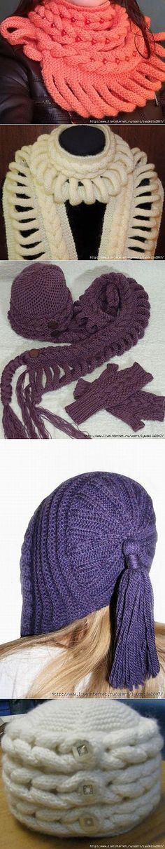Всем известные плетёные шарфы и шапочки с Осинки.--interesting pattern