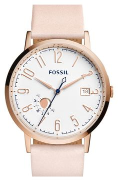 Crushing on this adorable watch from Fossil! The combination of blush-hued smooth leather and rosegold detailing is just perfection.
