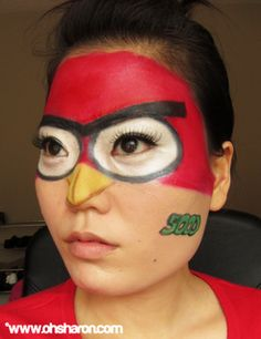 angry bird face paint instead of circles around the eyes make the more like a triange