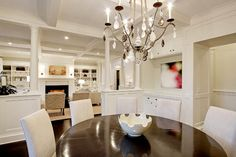 Chandelier, love the living room built-ins. Dining Room - traditional - dining room - seattle - Paul Moon Design