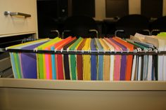 Classroom Organization- hang construction paper in filing cabinet to keep it neat and organized.