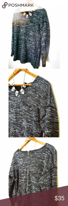 J Crew Grey Sweater Very warm and soft thick sweater. Has a beautiful zipper down the back. It is a marbled grey and white sweater. J. Crew Sweaters Crew & Scoop Necks