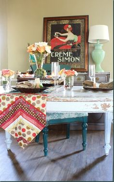 #mmsmpcolorofthemonth Ironstone Dining Room Table Makeover