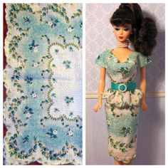 Classic Barbie doll dress made from vintage hankie