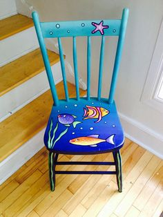is part of Funky painted furniture - Beautiful hand painted fishywishy chair! Lovingly restored antique hardwood Bass River chair made in Nova Scotia Art Furniture, Funky Furniture, Furniture Makeover, Antique Furniture, Furniture Design, Hand Painted Chairs, Whimsical Painted Furniture, Hand Painted Furniture, Painted Rocking Chairs