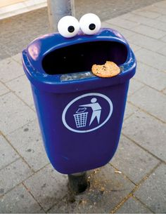Cookie Monster Bin, great way to teach kids to throw trash away. Feed Cookie Monster.