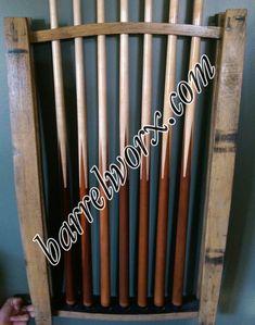 Whiskey Barrel Stave Pool Cue Rack Barrelworx Com