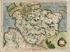 Map of Holstein by Gerard Mercator, 1595. [1676 × 1250]