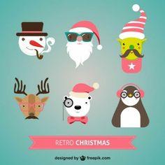 Caracteres retros do natal