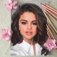 Selena Gomez. Realistic Color Pencil Portraits of Celebrities. By Vlad Yashin.