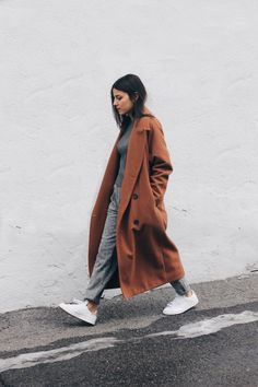 All grey, camel coat