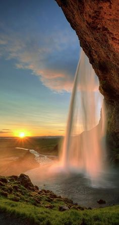 Sunset at Seljalandsfoss Waterfall in Southern Iceland