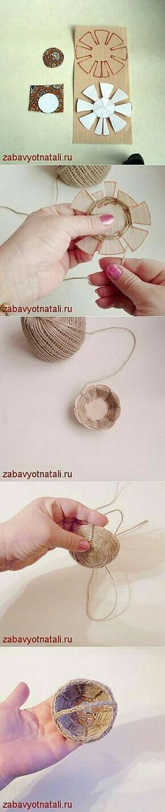 "Laboratorio spago ""Craft basket weave Really neat little baskets!"", ""Discover thousands of images about mini cassetta di legno fai da te - tutorial"", Hobbies And Crafts, Fun Crafts, Diy And Crafts, Crafts For Kids, Arts And Crafts, Paper Crafts, Kids Diy, Art N Craft, Basket Weaving"