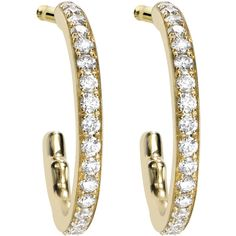 Asprey Yellow Gold & Diamond Hoop Earrings ($1,930) ❤ liked on Polyvore