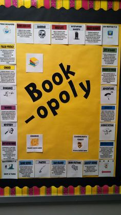 "Adapt as a Summer Reading Game -- each genre is a ""monopoly"" -- ie: Purple Spaces = Graphic Novel; Kids have to get at least one monopoly (they write in title/author under the genre space) to turn in sheet. Prizes awarded based on School Library Displays, Middle School Libraries, School Display Boards, Elementary Library Decorations, School Library Decor, Classroom Libraries, Classroom Door, Classroom Displays, Library Lessons"