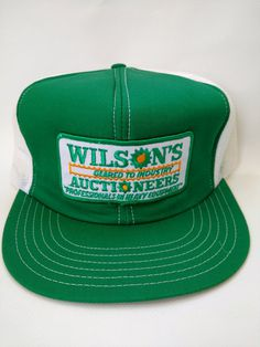 ba048eec Vintage Trucker Hat Wilson's Auctioneers 1980s Retro Heavy Equipment Green  Farming Excavating Machines Mens Cap