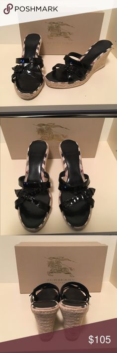 Burberry wedges worn once! Burberry shoes size 39, worn once to a wedding. Black patent leather accents. Hard to find! Perfect condition! Burberry Shoes Wedges