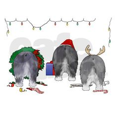 Nothin' Butt A Sheepdog Christmas! Give your friends and family a chuckle this Christmas Season, when you send out these funny Old English Sheepdog Butt Christmas Cards.