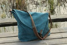 Blue Canvas Messenger Bag / Canvas Shoulder Bag / by KakaStore, $39.99