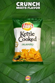 Each crunchy home-style LAY'S® Kettle Cooked Jalapeño Flavored Potato Chip is packed with the flavor of real jalapeños, ready for your enjoyment.