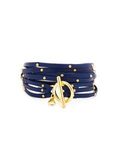 Graham Electric Blue Leather Triple Strand Wrap Bracelet