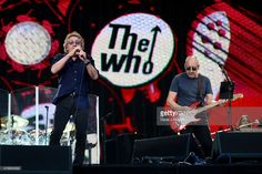 Singer Roger Daltrey (L) and guitarist Pete Townshend of The Who perform at the Barclaycard British Summertime gigs at Hyde Park on June 26, 2015 in London, England.